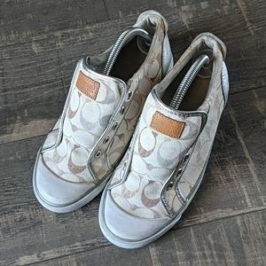 Coach Barrett Tan Silver Signature C Sneakers